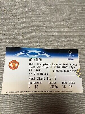 Manchester United Champions League Ticket Stubs Vs Ac Milan 2007 • 1£