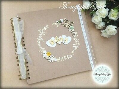 Golden Rustic Vintage Personalised Wedding Guest Book Wooden Heart Rose & Lace • 14.99£