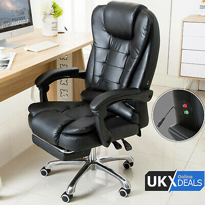 £84.49 • Buy Luxury Leather Office Massage Chair Computer Gaming Swivel Recliner Executive UK