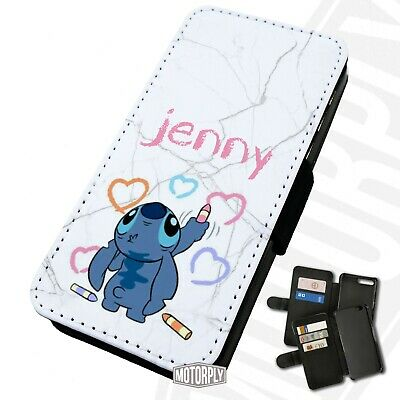 Printed Faux Leather Flip Phone Case For IPhone - Personalised Stitch Crayon • 9.75£