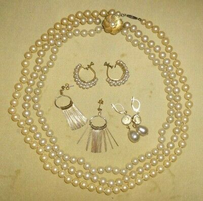 $ CDN26.35 • Buy Lot Vintage Gold Tone & Sterling Faux Pearl Necklaces  Gold Fill Earrings