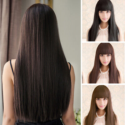 £6.09 • Buy Real Thick & Soft Long Straight Full Hair Wigs Women's Fashion Synthetic Wig