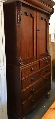 Victorian Mahogany 3+2 Drawer Linen Press With Shelves Approx 1890's • 395£
