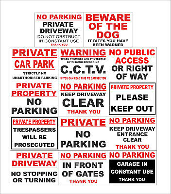 No Parking CCTV Private, Keep Clear, Car Park, Trespassers, Gates, Dog Signs • 2.59£