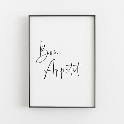 Bon Appetit Typography Print Poster Kitchen Food Dinner Quote Wall Art  • 4.99£