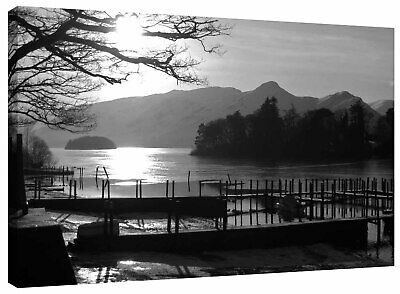 Lake District Derwentwater Jetty Landscape Picture Canvas Wall Art Print • 15.99£
