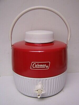$19.99 • Buy Vintage Coleman 1 Gallon Water Liquid Jug Cooler Red & White Made In USA 1981