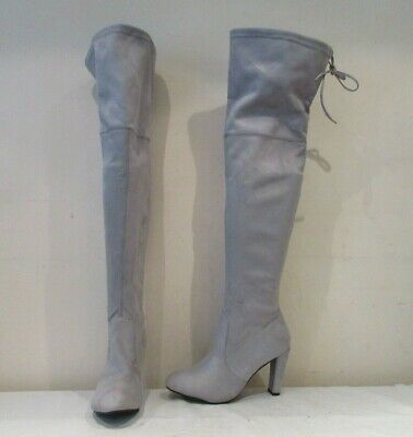 £13.60 • Buy Unbranded Grey Stretch Pull On Over Knee Heeled Boots Uk 6.5 (3312)
