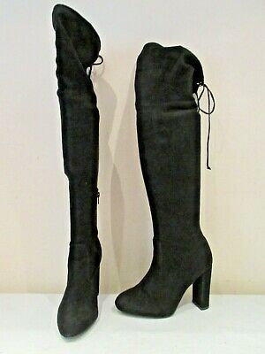£13.60 • Buy Unbranded Black Stretch Over Knee Pull On High Heel Boots Uk 6 (3267)