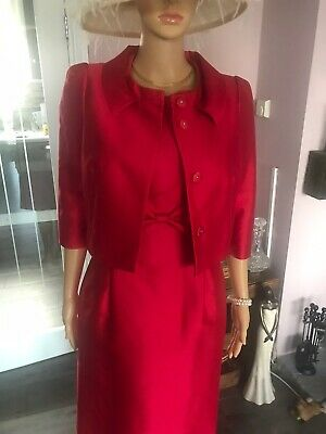 Hobbs Red Dress And Jacket Size 10 Great For Wedding Or Special Occassion • 45£