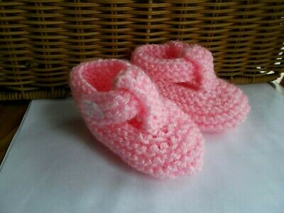 Hand Knitted Baby Shoes/Booties 0-3 Months Pink • 1.60£