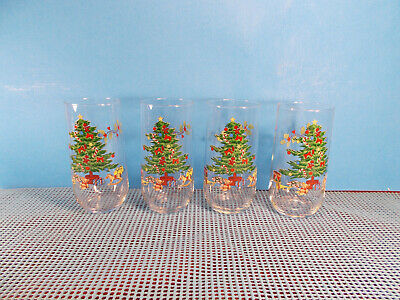 $11.95 • Buy Tienshan Dinnerware Holiday Hostess Set Of 4 Glass 12 Oz Tumblers 5 1/4  T