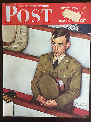 $ CDN25 • Buy 1942 Saturday Evening Post COVER ONLY Norman Rockwell Willie Gillis In Church