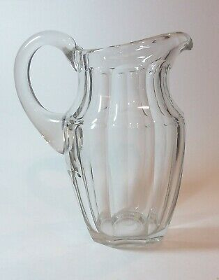 $59 • Buy Antique Crystal Water Jug Pitcher Panel Cut Faceted Sides