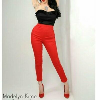 New Deadly Dames Red Cigarette Pants Trousers Rockabilly Pinup Smart Retro S 8 • 75£