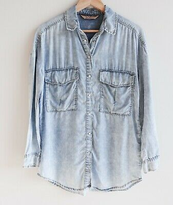 AU28 • Buy BERSHKA Size XS S Light Washed Denim Chambray Collared Top Jacket Long Sleeve