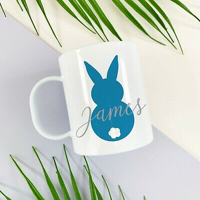 Children's Personalised Blue Bunny Easter Cup, Plastic BPA Free • 10.99£