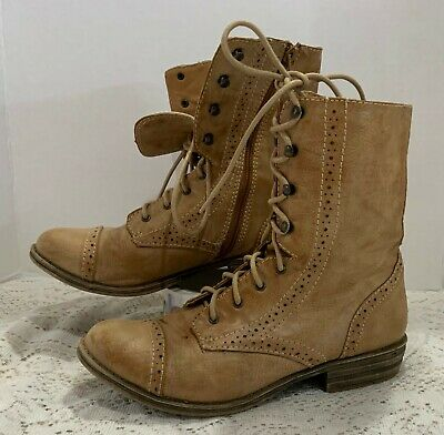 $19.99 • Buy Womens American Rag Tan Lace Up Zipper Side Boots Size 8.5 Red White Blue Lining