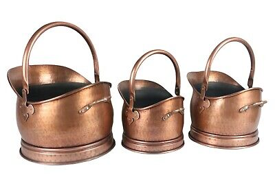 Classic Coal Scuttle Bucket Hod Antique Copper Finish Fireplace Accessory • 29.95£