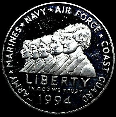 $34.95 • Buy 1994 P Proof Military Women Commemorative 90% Silver Dollar $1 Coin Free Ship.