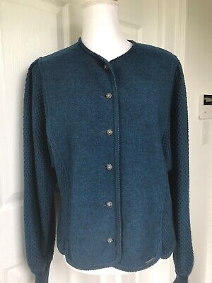 $31 • Buy Pre-Owned Women's Geiger Austria Boiled Wool Blue Cardigan Sweater Jacket 46 EUR