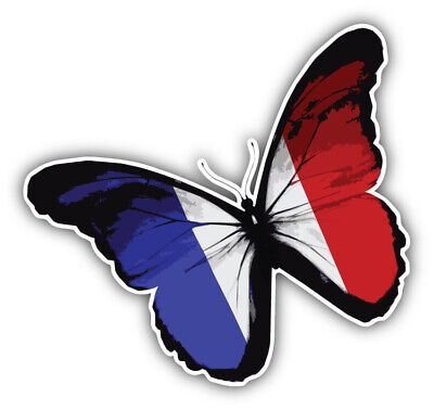 France Flag Butterfly Car Bumper Sticker Decal - ''SIZES  • 2.89£