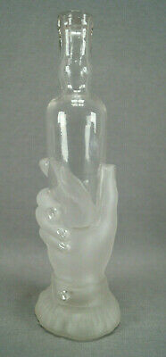 $100 • Buy Antique French Depose Mold Blown Frosted Glass Hand Bottle Circa 1870s