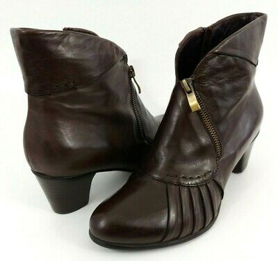 $49.99 • Buy Everybody Pleated Leather Ankle Boot Women's 38 US 7.5 Brown Zip Bootie BZ Moda
