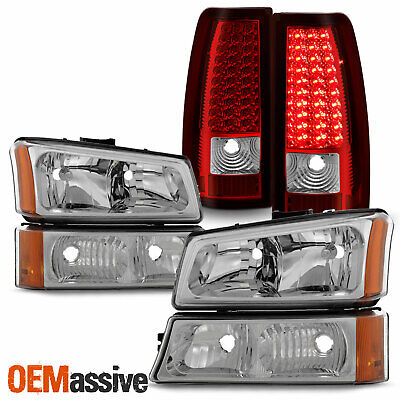 $185.99 • Buy For 03-06 Silverado 1500/1500HD/2500/2500HD/3500 Headlights + LED Red Tail Lamp
