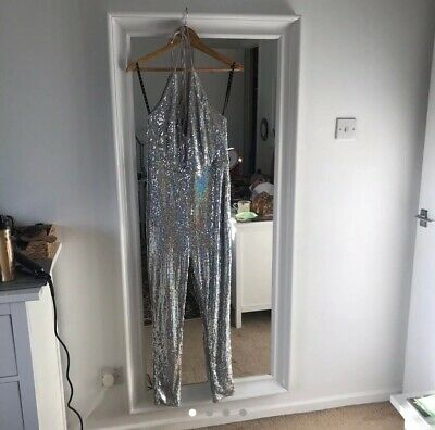 Silver Sequin Jumpsuit Pretty Little Thing Size 14 • 5.40£