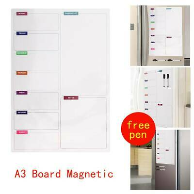 A3 Magnetic Memo Meal Planner Large Fridge Notice Board Whiteboard With 2 Pens • 6.85£