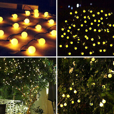 £4.29 • Buy Outdoor 50 LED Solar Battery Powered Garden Lamp Party String Ball Warm Lights