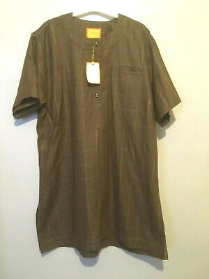 TIMEY Mens Checked Lekki Tunic Style Top Shirt Collar Size 17  BNWT Brown • 15.93£