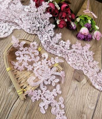 Pink Embroidery Lace Trim Applique For Wedding Dress Sewing Patch DIY Fabric • 2.59£