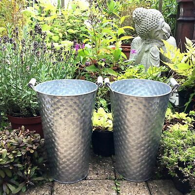 Set Of 2 Tall Zinc Metal Garden Planters Flower Pots Tubs Vases With Handles NEW • 16.99£