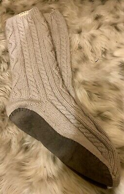 Lovely Warm Jack Wills Ladies Slipper Bed Sock Grey New Cable Knit • 8£