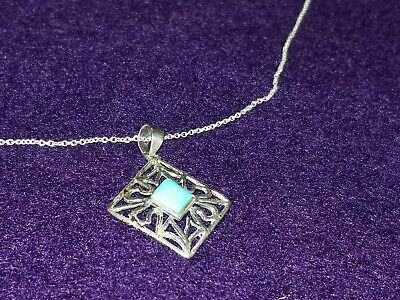 $10 • Buy Turquoise & Sterling Silver Pendant On Sterling Chain, Charles Winston, 925