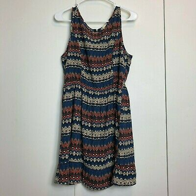 $20.06 • Buy One Clothing Womens L Aztec Blue Orange Short Dress Boho Bohemian Sleeveless