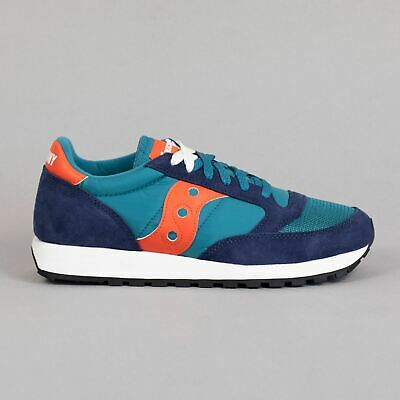 SAUCONY Mens Jazz Original Vintage Trainers In PEACOAT, TEAL & ORANGE • 75£