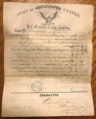$65 • Buy Civil War U.S. 6th Cavalry Soldier's Discharge Document With Leather Holder