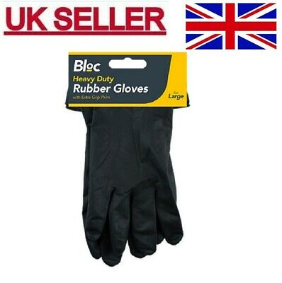 £2.47 • Buy GLOVES Rubber Work Cleaning Heavy Duty Washing Waterproof Large BLACK Protection