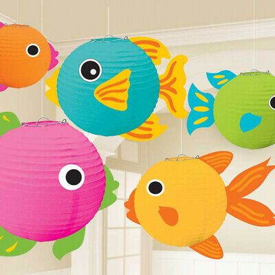 Hawaiian Luau Tropical Fish Paper Lantern Hanging Party Under Sea Decoration X 5 • 10.95£