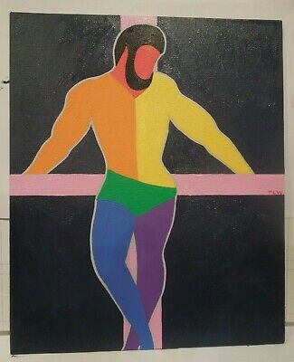 Male Figure Oil Painting - Signed - Gay Flag - Gay Interest • 75£