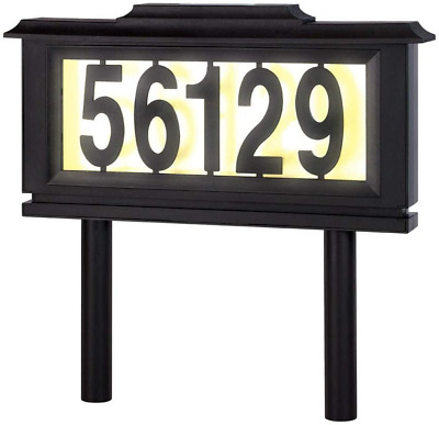 Solar Address Sign LED Plaque Yard Ground Lawn Stake House Street Number Lighted • 36.18£