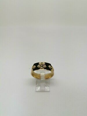 £250 • Buy 15ct Victorian Mourning Ring Black Enamel & Floral Sea Pearl Design Size Q...