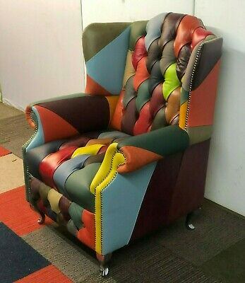 £850 • Buy Patchwork Chesterfield Armchair Leather NEW - £1795 In Store