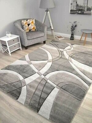 £44.99 • Buy Grey Living Room Rugs Small Extra Large Turkish Floor Carpets Soft Thick Carved
