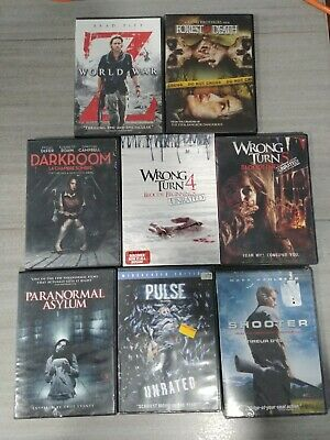 $ CDN25 • Buy Horror & Action Movie DVD's Lot Of 8 Z World War Wrong Turn 4 & 5, And More