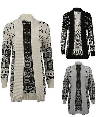Womens Ladies Owl Cross  Snowflake Pattern Winter Jumper Open Knitted Cardigan • 4.99£