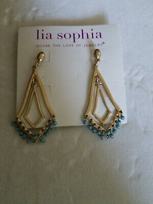 $ CDN15.22 • Buy Lia Sophia Geometric Blue Stone Earrings